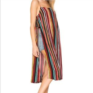 Free People Ruby Striped Long Slit Tank Top Small